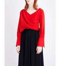 Adeam Wrap Around Crepe Top Beni Red