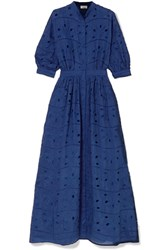 Paul And Joe Broderie Anglaise Cotton Silk Blend Maxi Dress Navy