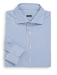 Kiton Regular Fit Check Cotton Dress Shirt Blue