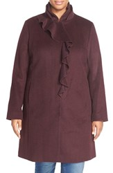 Plus Size Women's Dkny Ruffle Front Wool Blend Coat