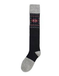 Hue Fairisle Knee Socks Black