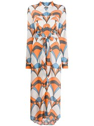 Essentiel Antwerp Troo Troo Printed Shirt Dress Orange
