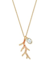 Swarovski Gold Tone Crystal Branch And Oval Stone Pendant Necklace
