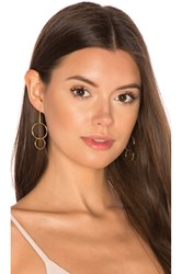 Joolz By Martha Calvo Double Drop Hoop Earrings Metallic Gold