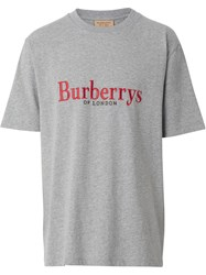 Burberry Embroidered Archive Logo Cotton T Shirt Grey