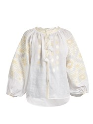 Vita Kin Kilm Embroidered Linen Blouse Ivory
