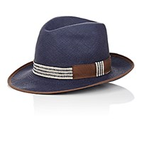 Barbisio Men's Braided Panama Hat Navy