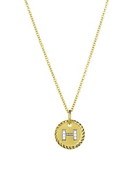 David Yurman Cable Collectibles Initial Pendant With Diamonds In Gold On Chain 16 18