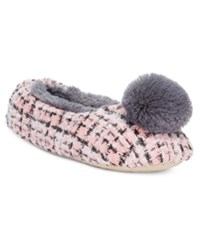 Kensie Tweed Pom Pom Ballet Slippers Pink