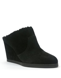 Tahari Sicsi Suede And Faux Shearling Lined Wedge Mules Black