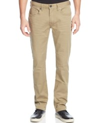 Buffalo David Bitton Slim Straight Fit Six Torpedo Stretch Twill Jeans Tan