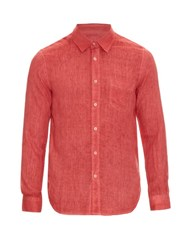 120 Lino Button Cuff Linen Shirt Red