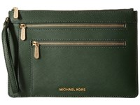 Michael Michael Kors Jet Set Travel Xl Triple Zip Clutch Moss Clutch Handbags Green