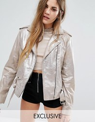 Reclaimed Vintage Sparkle Leather Biker Jacket Gold