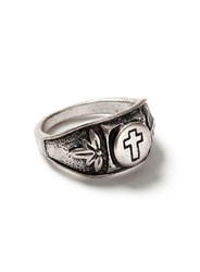 Topman Antique Silver Look Etched Cross Ring