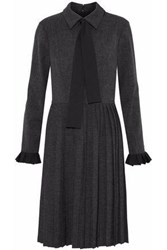 Mikael Aghal Pussy Bow Pleated Cotton Blend Dress Dark Gray