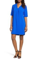 Bobeau Pleat Front Curved Hem Shirtdress Royal