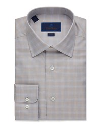 David Donahue Trim Fit Glen Plaid Dress Shirt Brown