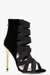 Boohoo Elastic Multi Strap Shoe Boot Black