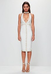 Missguided White Tab Neck Gold Ring Detail Midi Dress