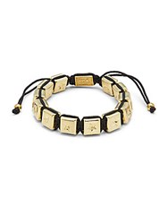 King Baby Studio Brass Square Macrame Bracelet Black