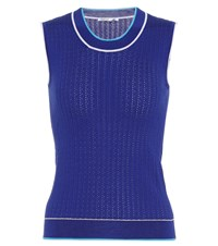 Agnona Sleeveless Silk And Cotton Top Blue