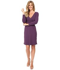 Mod O Doc Cotton Modal Spandex Jersey Surplice Banded Empire Dress Aubergine Women's Dress Purple