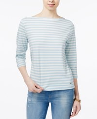 Tommy Hilfiger Striped Boat Neck Top Only At Macy's Blue Ivy