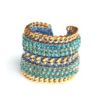 Miss High And Low Aquamarine Bracelet Gold Blue Gold Green