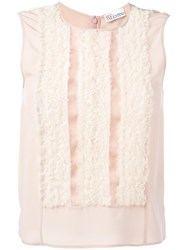Red Valentino Ruffled Front Tank Top Pink Purple