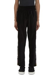 James Long Striped Panel Velvet Jogger Pants Black