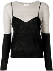 Isa Arfen Embroidered Fitted Sweater Nude And Neutrals