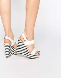 Miss Kg Panda Strap Flatform Wedges White Synthetic