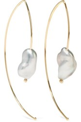 Mizuki Open Marquis 14 Karat Gold Pearl Earrings One Size