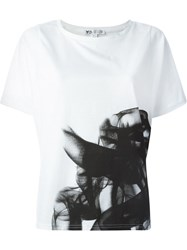 Y 3 Abstract Ink Print T Shirt White