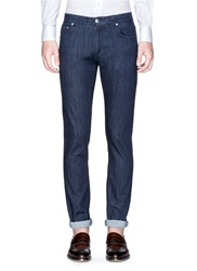 Isaia Washed Selvedge Cotton Blend Jeans Blue
