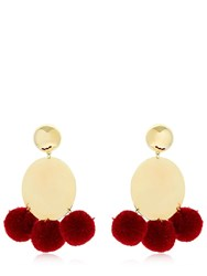 Elizabeth And James Stevie Pompom Earrings Bordeaux