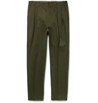 Casely Hayford Rowley Tapered Cotton Twill Trousers Green
