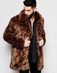 River Island Faux Fur Winter Coat Brown