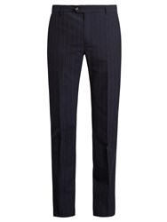 Editions M.R Pinstripe Wool Slim Fit Trousers Blue