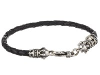 King Baby Studio Small Leather Braid W Crowns Silver Black Bracelet Gray