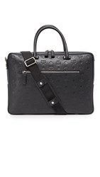 Mcm Otto Monogrammed Leather Briefcase Black