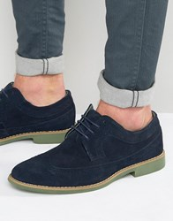 Front Brogues In Suede Navy Blue