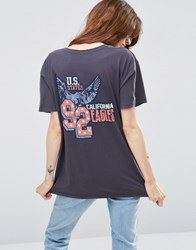 Asos T Shirt With 90'S Americana Print In Wash Charcoal Grey