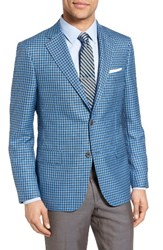 Samuelsohn Men's Classic Fit Check Wool And Silk Sport Coat Light Blue