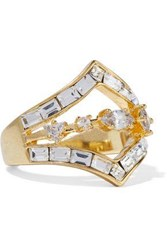 Luv Aj Gold Plated Crystal Ring Gold