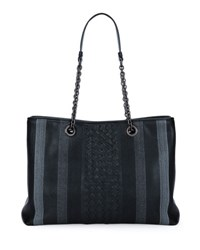 Bottega Veneta Double Chain Woven Tote Bag Black