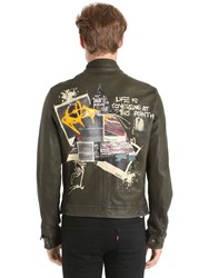 Php Hand Painted Leather Biker Jacket