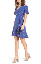 Lush Lucy Floral Wrap Dress Blue Coral Floral