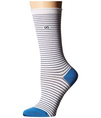 Cole Haan Roll Top Stripe Crew White Women's Crew Cut Socks Shoes